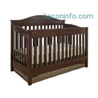 ihocon: Eddie Bauer  3 in 1 Convertible Langley Crib, Walnut嬰兒床
