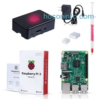 ihocon: Raspberry Pi 3 Model B Kit with Black Case, Power Supply, Heatsink樹莓派3小電腦組(含外殼)
