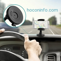 ihocon: AUKEY Car Phone Mount, Windshield Dashboard Suction Phone Holder with Quick Release Button吸盤式手機固定架
