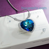 ihocon: QIANSE Heart of Ocean Pendant Necklace Made with Swarovski Crystals海洋之星水晶項鍊
