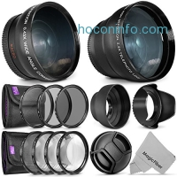 ihocon: 52mm Starter Accessory Kit for Nikon DSLR Bundle with Vivitar Wide Angle and Telephoto Lenses