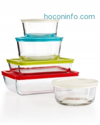 ihocon: Pyrex 10-Piece Simply Store Set with Colored Lids玻璃保鮮盒