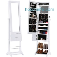 ihocon: LANGRIA Free Standing Lockable Jewelry Cabinet Full-Length Mirrored Jewelry Armoire with LED Lights首飾櫃穿衣鏡