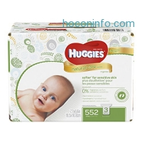 ihocon: Huggies Natural Care Baby Wipes, Sensitive, Unscented, 3 Refill Packs, 552 Count Total