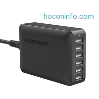 ihocon: RAVPower 60W 12A 6-Port USB Charger Desktop Charger Charging Station with iSmart Technology (Black)