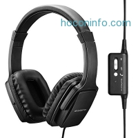 ihocon: ENGREPO Active Noise Cancelling Headphones With Mic, Overhead Strong Bass Earphones, Folding and Lightweight Travel Headset With Carrying Case