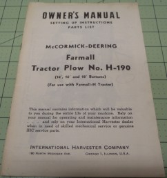 ih farmall h 190 tractor plow owners manual [ 3264 x 2448 Pixel ]