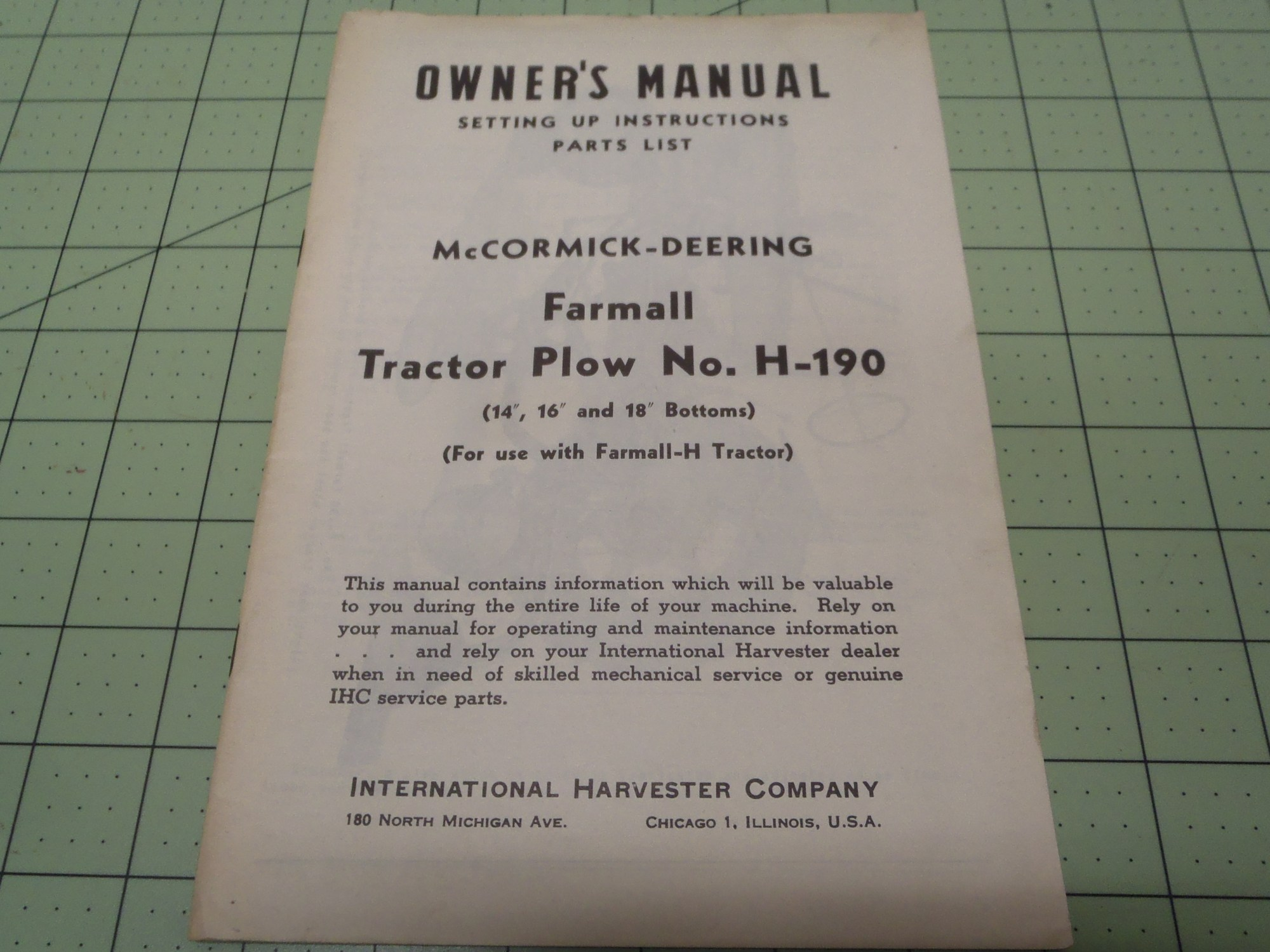 hight resolution of ih farmall h 190 tractor plow owners manual