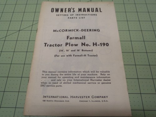small resolution of ih farmall h 190 tractor plow owners manual