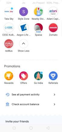 Showing offers,rewards option