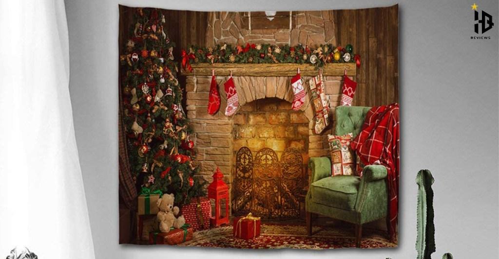 colorful-star-fireplace-christmas-tree-design