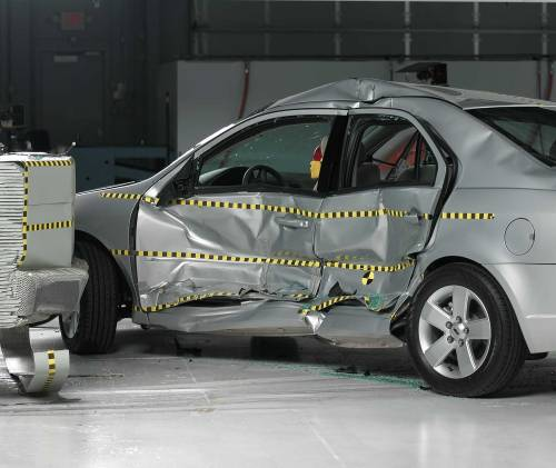 small resolution of view of the vehicle and barrier just after the crash test