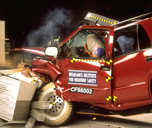 small resolution of action shot taken during the frontal offset crash test