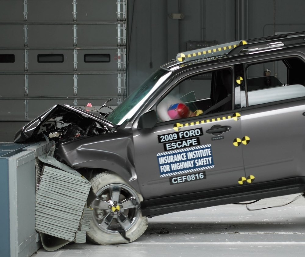 medium resolution of action shot taken during the frontal offset crash test
