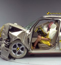 the dummy s position in relation to the steering wheel and instrument panel after the crash test indicates that the driver s survival space was maintained  [ 1600 x 1350 Pixel ]