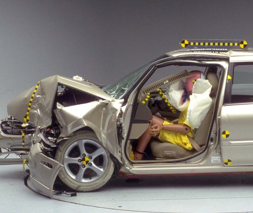 small resolution of the dummy s position in relation to the steering wheel and instrument panel after the crash test indicates that the driver s survival space was maintained