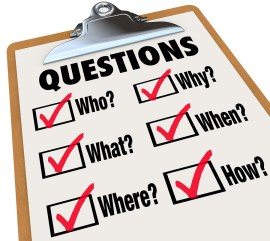 A survey with reserach questions Who, What, Where, When, Why, Ho