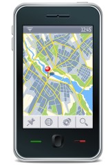 gps navigator interface with city map and place pin