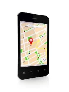 Modern mobile phone with GPS navigator.