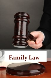 Judge's gavel in hand and text Family Law