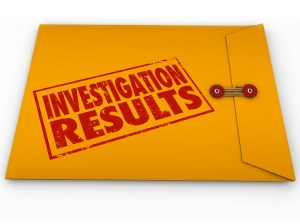 Investigation Results words stamped on a yellow envelope contain