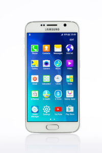 Studio Shot Of A White Samsung Galaxy S6 Smartphone