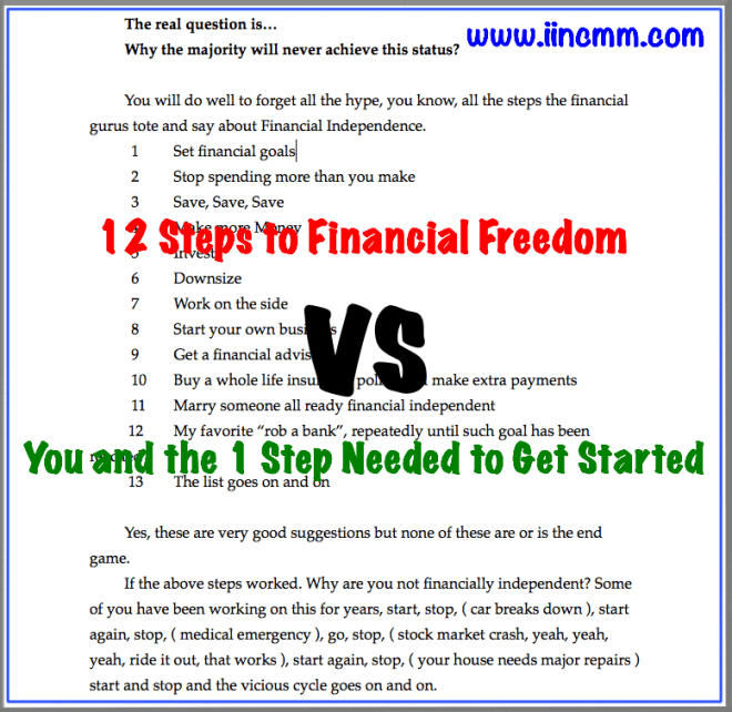 Well known steps to Financial Freedom