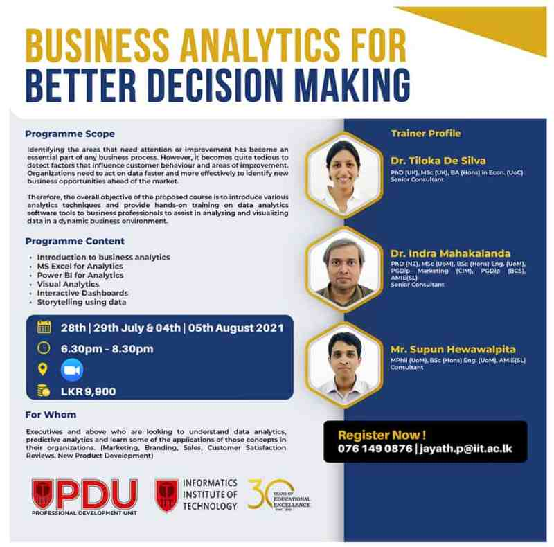 Business Analytics for Better Decision Making - IIT
