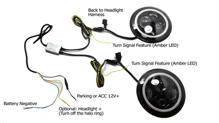 wiring diagram for motorcycle led lights toro personal pace parts how to install headlights on jeep wrangler