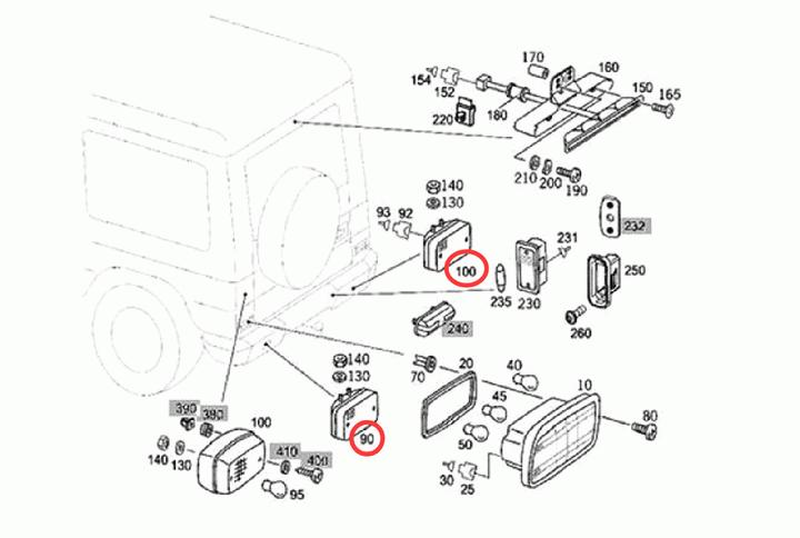 LED Rear Foglight, Backup Reverse Lamps For Mercedes W463