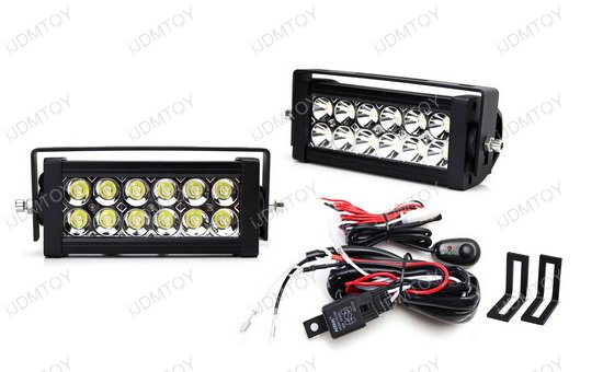 Dual LED Light Bars w/Rear Bumper Mount, Wiring For 15-up