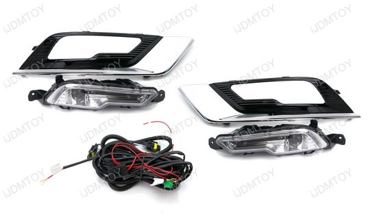 2017-up Ford Fusion LED Daytime Running Lights w/ Bezel Covers
