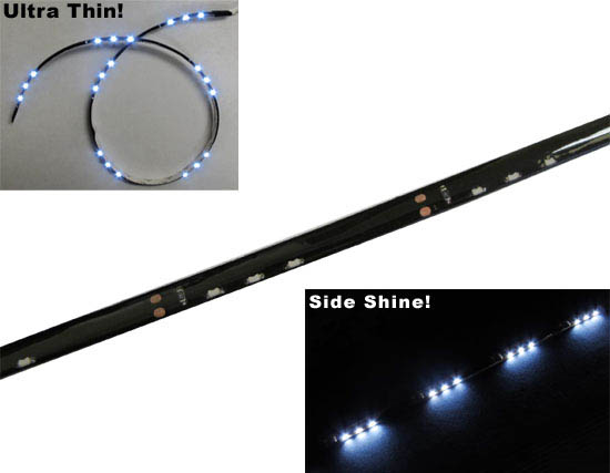 "JDM Audi A5 Q5 R8 Style Xenon White Side Shine 20"" SMD Flexible LED Strip Lights For Headlight Lamps (3 LEDs groups in an array)"