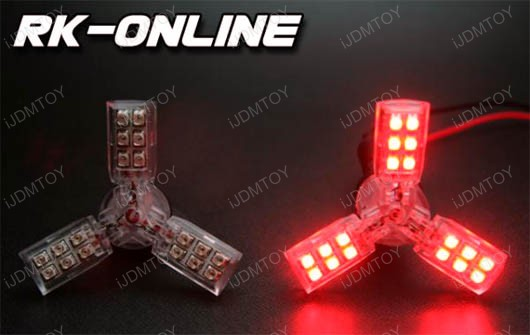 JDM 3-Arm 24-SMD Brilliant Red SpiderLite LED Bulbs for Tail/Break/Stop Light (size 1157, 3156, 3157, 7440, 7443)