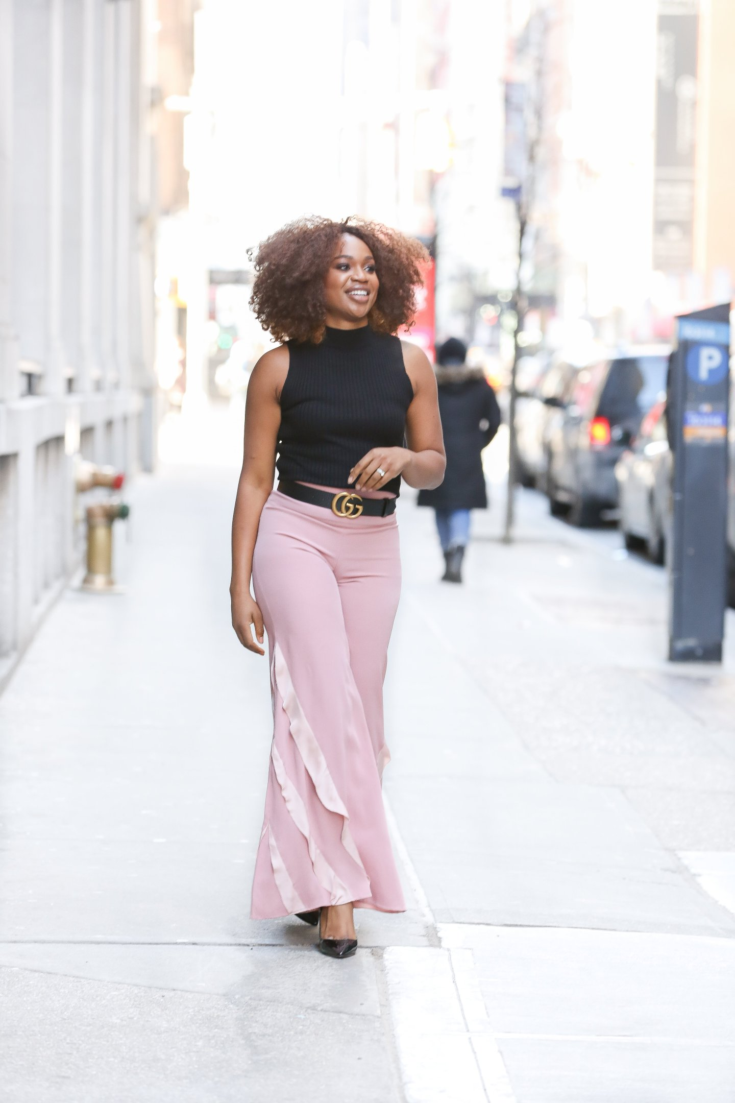 Valentine's Day outfit ideas, pink palazzo pants, wide leg ruffle pants, black and pink valentine's day outfit