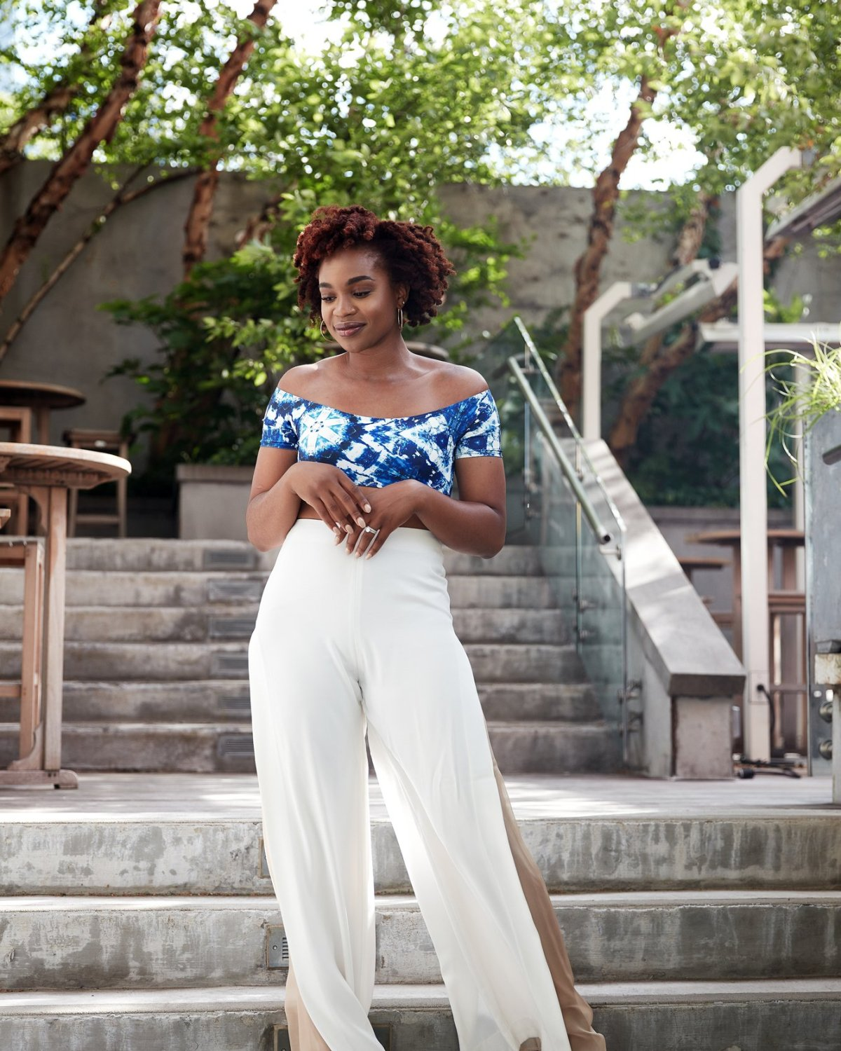 diarra blu bikini top, aq/aq white split palazzo pants, steve madden greece slides