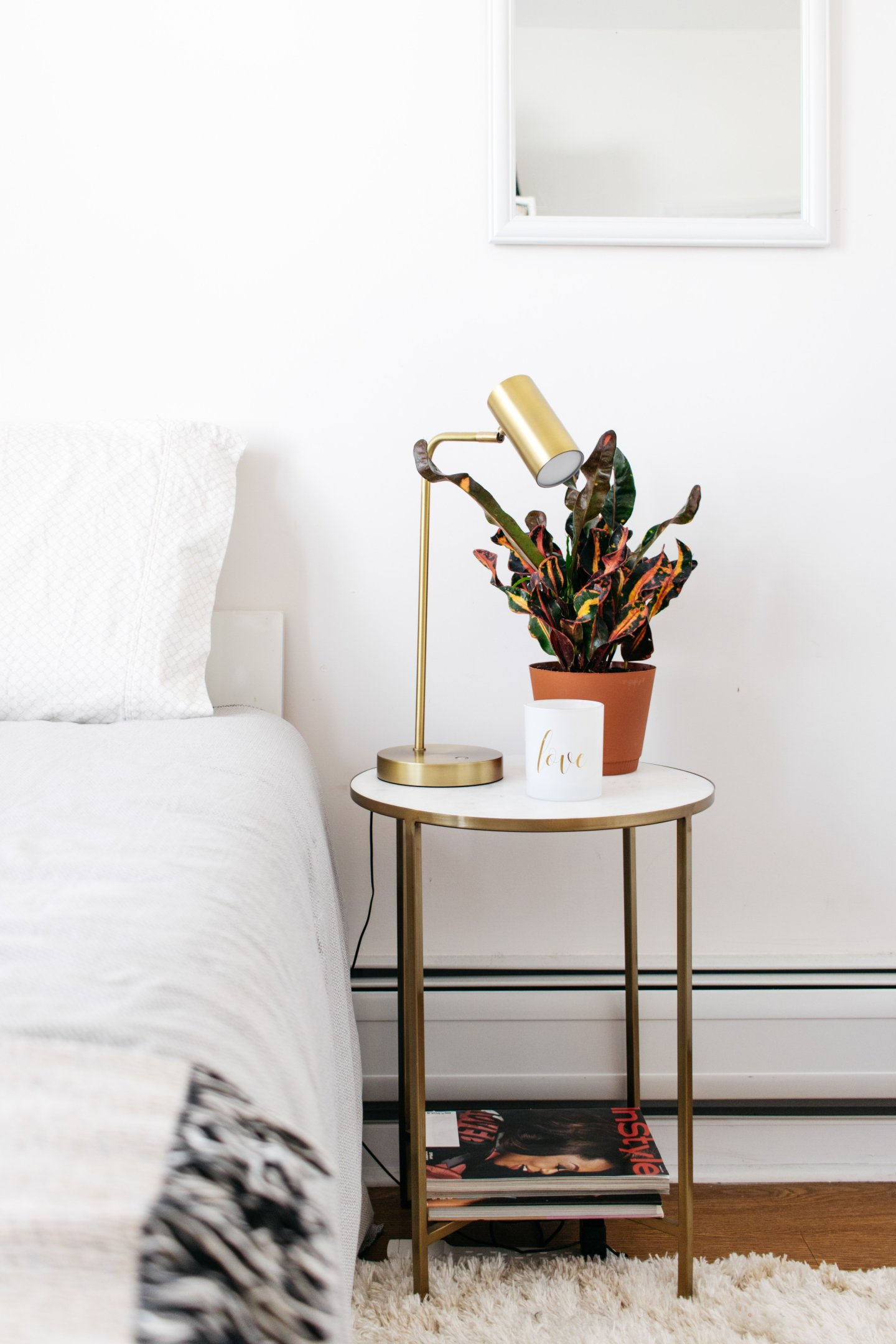 Home Office to Guest Bedroom Makeover - Nightstand Vignette