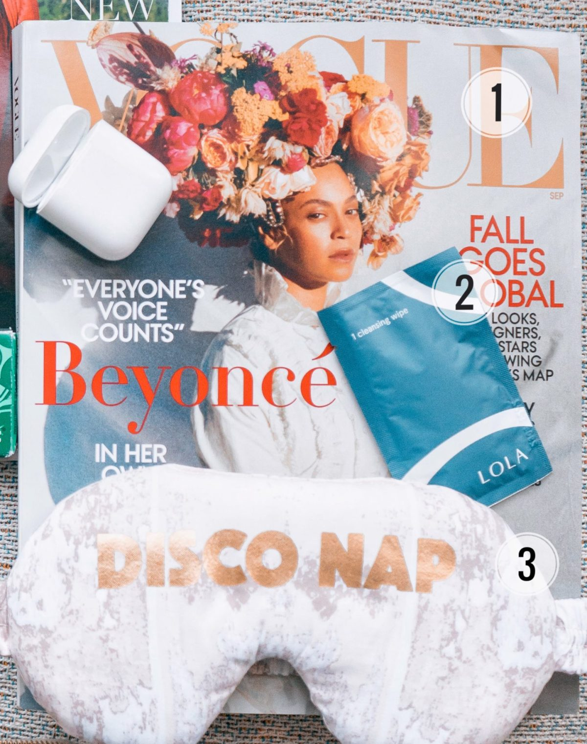 Vogue September Issue Beyonce, disco nap eye mask, lola cleansing wipes
