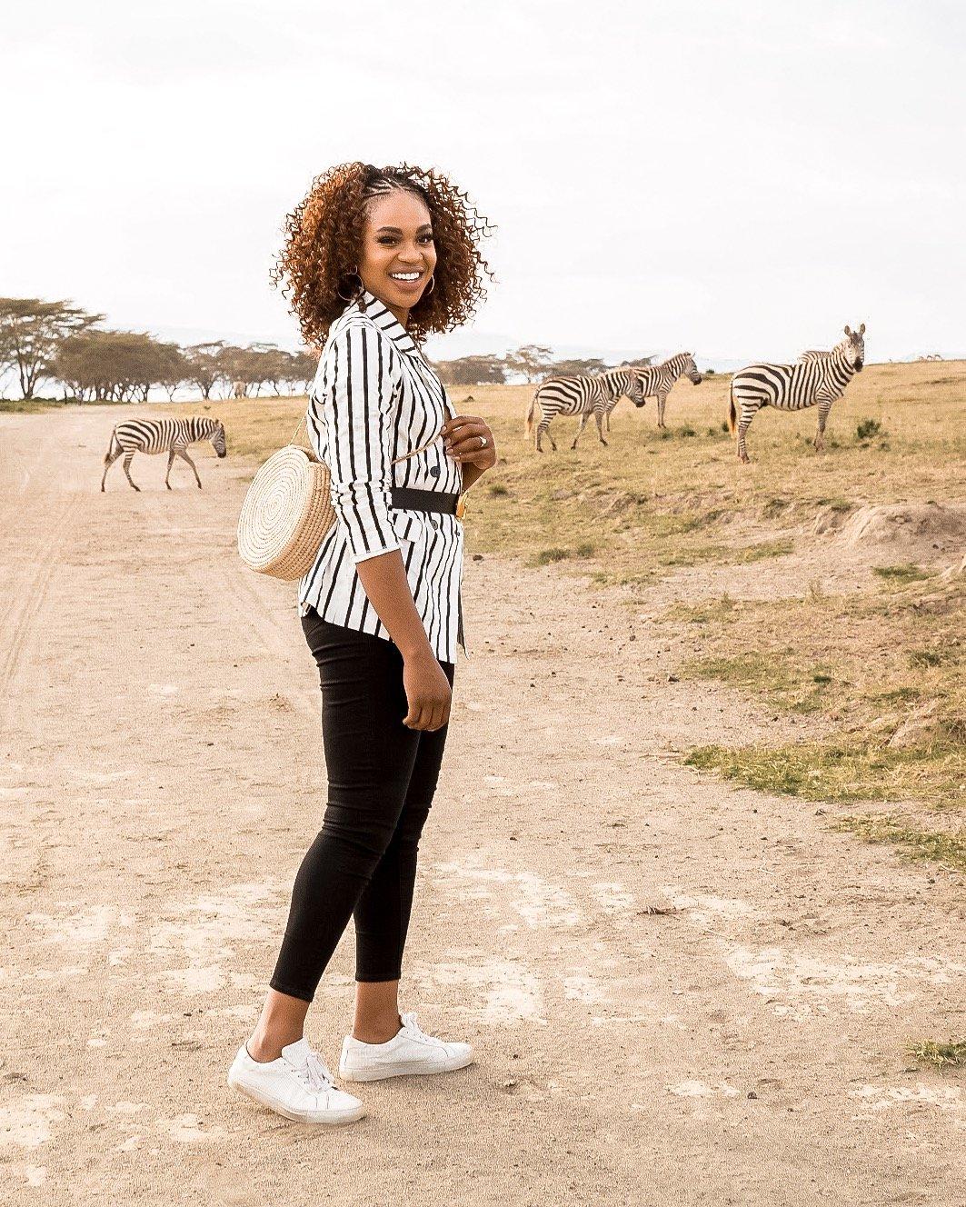 love enin striped blazer, crescent island lake naivasha kenya, zebras, safari photoshoot, photoshoot with zebras, woven circle bag