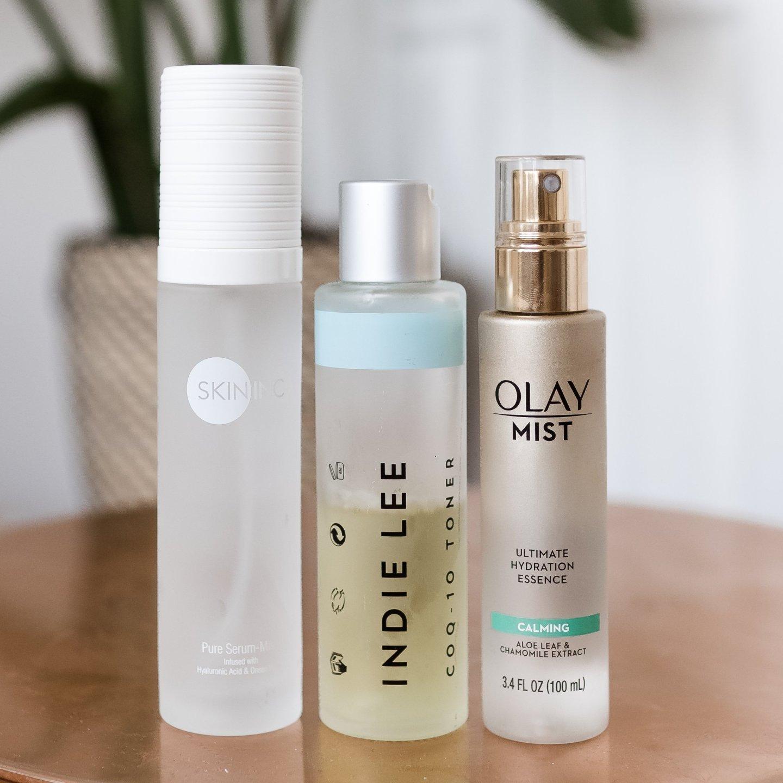 my updated skincare routine, skin inc pure serum mist, indie lee coq10 toner, olay mist calming