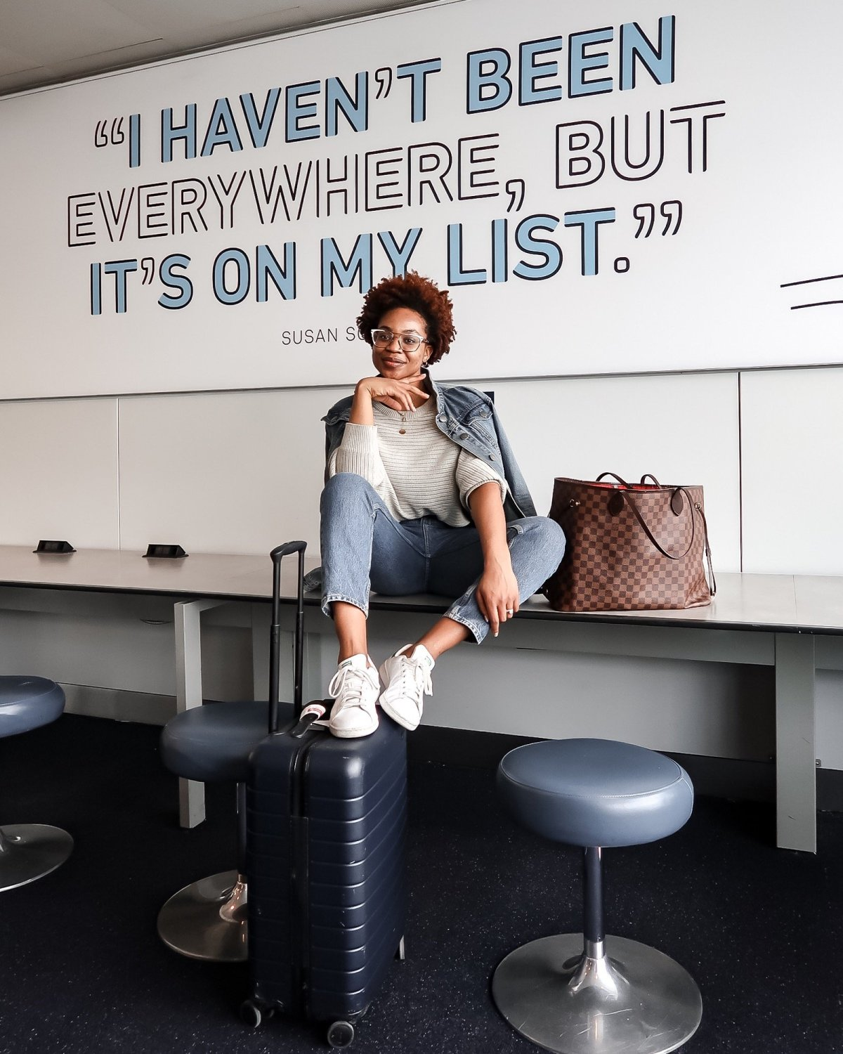 I haven't been everywhere, but it's on my list quote; JFK Terminal 4, Ijeoma Kola, travel blogger