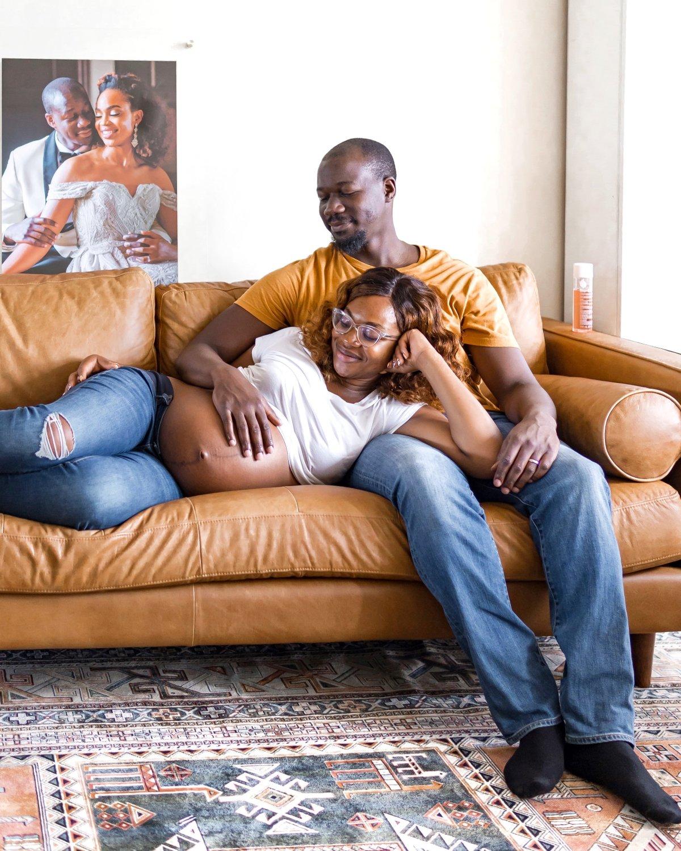 Ijeoma Kola pregnant in living room