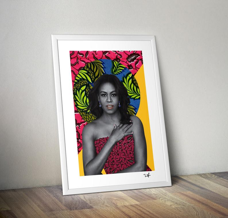 Framed art of Michelle Obama image from black owned home decor brand