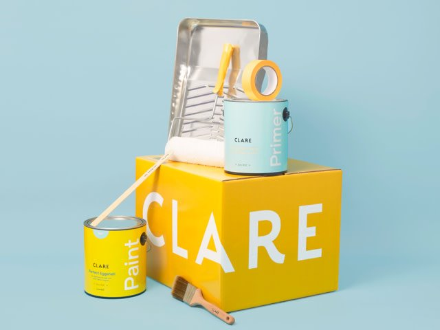 Yellow Clare box with painting tins and equipment