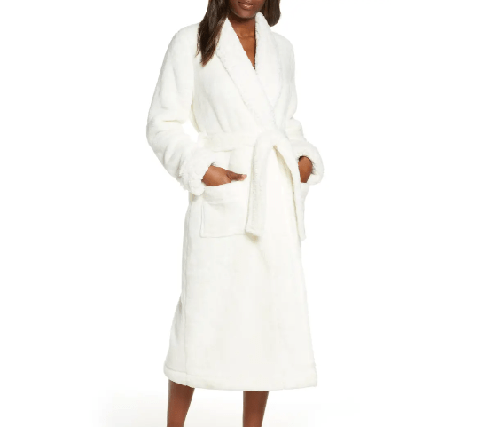 Fluffy white bathroom robe on black woman model