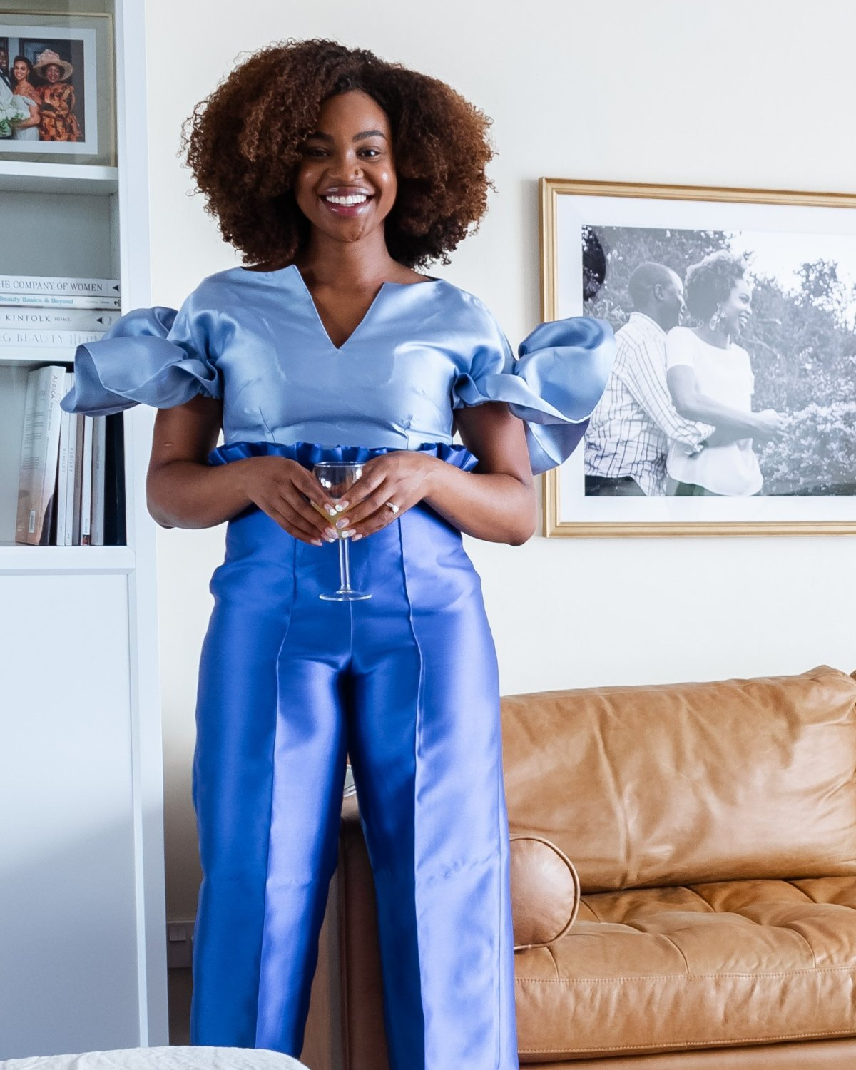 Ijeoma Kola in blue two piece outfit