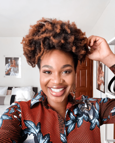Ijeoma Kola in high natural bun - Natural hairstyles for black women
