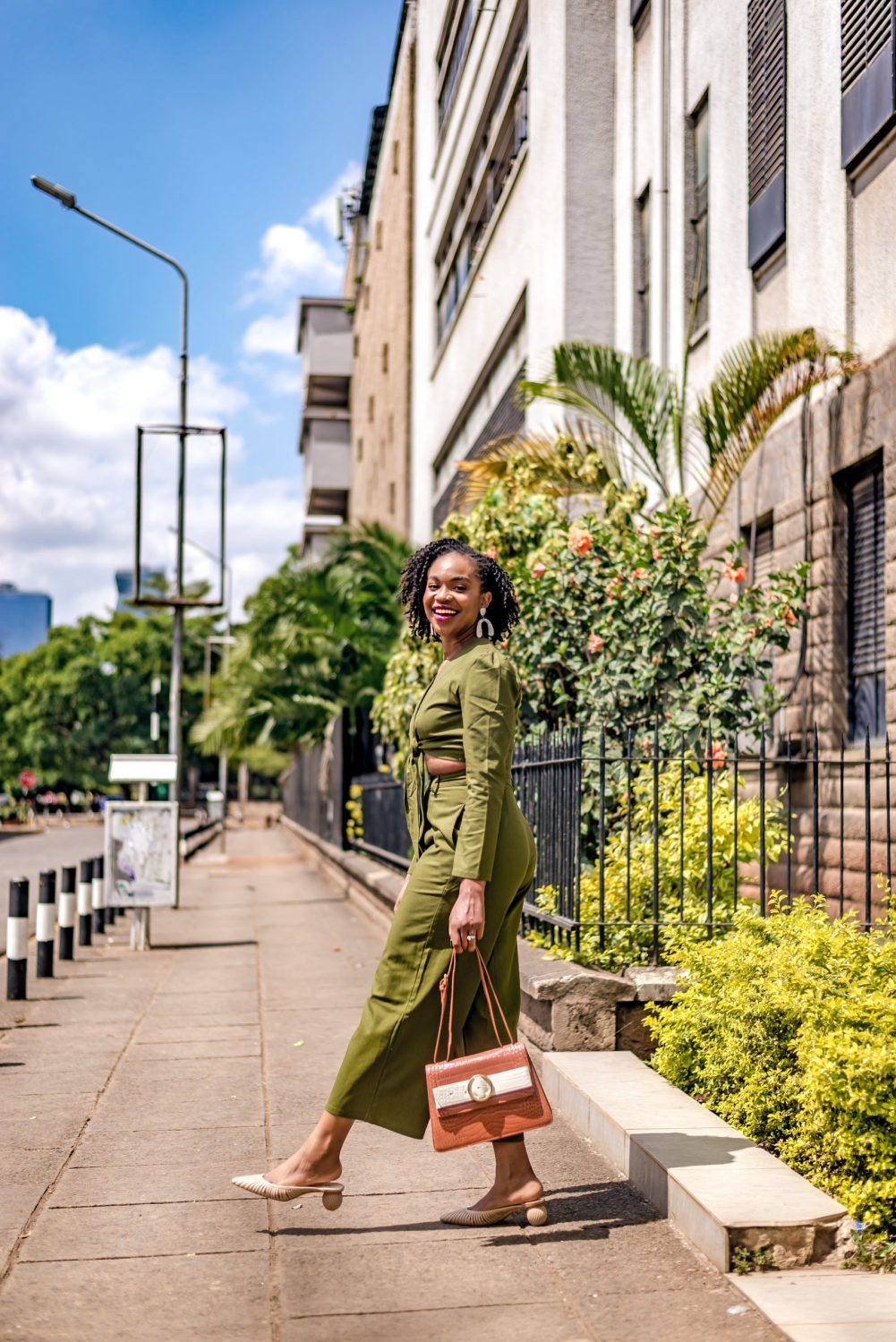 Ijeoma Kola in green two-piece set
