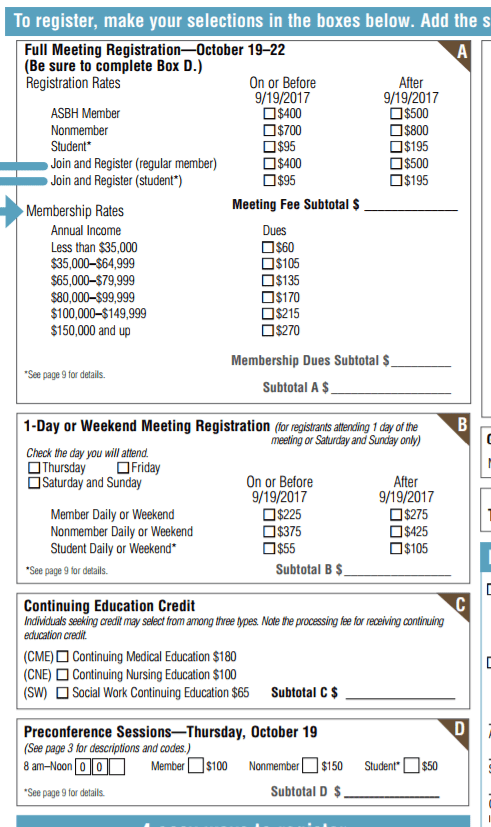 This image of the registration form for ASBH 2017 shows that ASBH members pay $400 for registration, Nonmembers pay $700, and Students pay $95. While ASBH membership has a sliding scale for income brackets so that dues cost less for lower income folks, the conference registration fees are not on a sliding scale except that students pay dramatically less than others. Note that any patients or advocates would pay the same fee as people in the medical humanities who pay the same fee as all medical professionals.