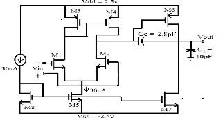 Design of a low voltage,low drop-out (LDO) voltage cmos